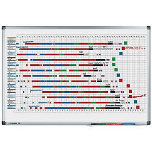 LEGAMASTER PREMIUM magnetische jaarplanner voor aan de muur, indeling in 53 weken, oppervlak van gelakt staal, frame van geanodiseerd aluminium, 900 x 600 mm, wit