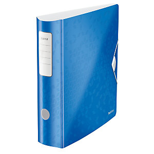 Leitz Active Wow Archivador de palanca de 180º, A4, Lomo 82 mm, Capacidad 500 hojas, Polipropileno, Azul