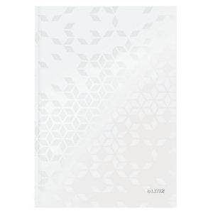 Leitz Blocco rilegato WOW A4, 80 fogli a quadretti, Copertina rigida plastificata, Bianco
