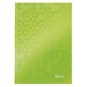 Leitz Blocco rilegato WOW A5, 80 fogli a quadretti, Copertina rigida plastificata, Verde lime
