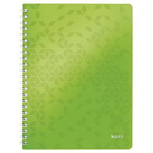 Leitz Blocco spiralato WOW A4, 80 fogli a quadretti 5 mm, Copertina in polipropilene, Verde lime