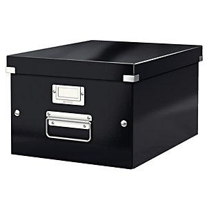 Leitz Boîte de rangement Click & Store carton , capacité 16,7 l, pour format A4 (210 x 297 mm), H. 200 mm x l. 281 mm x P. 369 mm - Noir - Montage facile par bouton pression