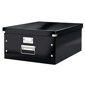 Leitz Boîte de rangement Click & Store carton , capacité 29,6 l, pour format A3 (297 x 420 mm), H. 200 mm x l. 369 mm x P. 484 mm - Noir - Montage facile par bouton pression