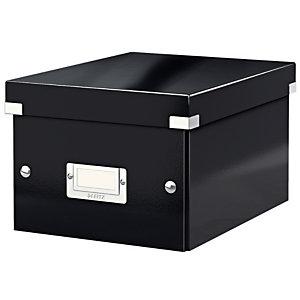 Leitz Boîte de rangement Click & Store carton , capacité 7,4 l, pour format A5 (148 x 210 mm), H. 160 mm x l. 21,6 cm x P. 28,2 cm - Noir - Montage facile par bouton pression