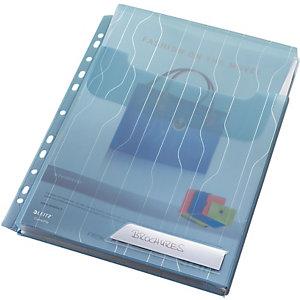 Leitz Busta a L, A4, Polipropilene 200 micron, Goffrata, 11 fori, Bianco trasparente (confezione 3 pezzi)