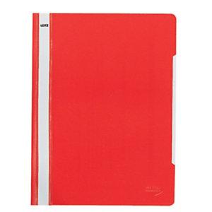 Leitz Dossier fástener plástico con tarjetero, A4, polipropileno, 120 hojas, rojo