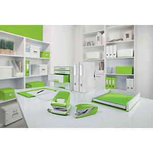 Leitz MyBox® Contenitore multiuso Large, Plastica, Senza BPA, Bianco e Verde Lime, 318 x 385 x 198 mm