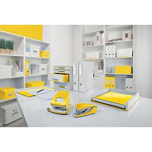 Leitz MyBox® Contenitore multiuso Small, Plastica, Senza BPA, Bianco e Giallo metallizzato, 318 x 191 x 128 mm