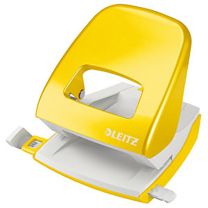 Leitz Perforateur 2 trous de bureau WOW, 3 mm/30 feuilles, Jaune métallisé