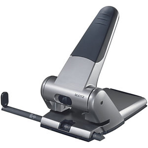Leitz Perforatore per alti spessori con guida di allineamento, Capacità di perforazione 65 fogli, 2 fori, Colore grigio