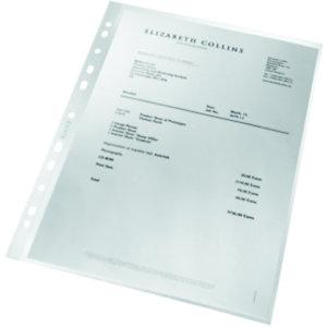 Leitz Pochette perforée grainée Re:cycle, A4, polypropylène 90microns, 11trous, transparente
