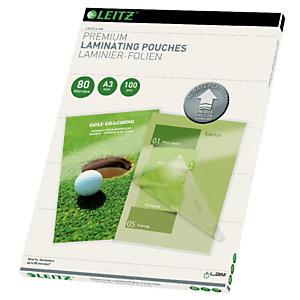 Leitz Pochettes de plastification A3 - UDT - Transparente - Epaisseur : 80 microns par face - Boîte de 100