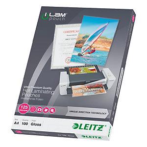 Leitz Pochettes de plastification A4 - UDT - Transparente - Epaisseur : 125 microns par face - Boîte de 100