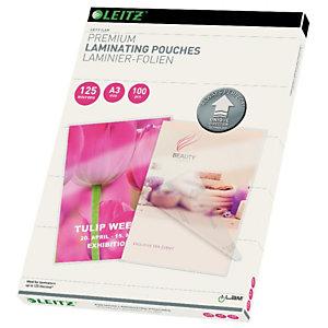 Leitz Pouches per plastificatrici a caldo con tecnologia UDT, A3, 2 x 125 µ, Trasparente (confezione 100 pezzi)