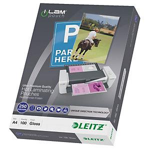 Leitz Pouches per plastificatrici a caldo con tecnologia UDT, A4, 2 x 250 µ, Trasparente (confezione 100 pezzi)