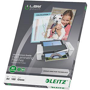 Leitz Pouches per plastificatrici a caldo con tecnologia UDT, A4, 2 x 80 µ, Trasparente (confezione 100 pezzi)