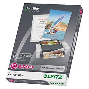 Leitz Pouches per plastificatrici a caldo con tecnologia UDT, A5, 2 x 125 µ, Trasparente (confezione 100 pezzi)