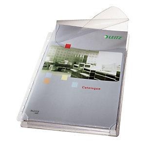 Leitz Premium Funda perforada con fuelle, A4, PVC de 170 micras, 11 orificios, lisa, transparente