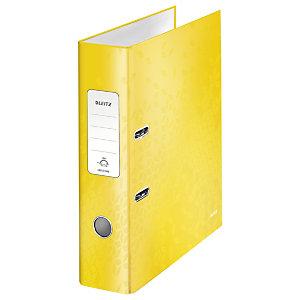 Leitz Wow Archivador de palanca de 180º, A4, Lomo 80 mm, Capacidad 600 hojas, Cartón resistente recubierto de papel impreso plastificado, Amarillo
