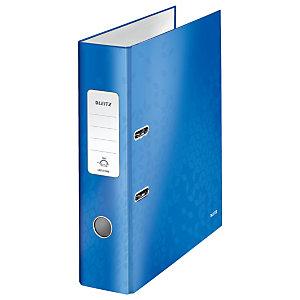 Leitz Wow Archivador de palanca de 180º, A4, Lomo 80 mm, Capacidad 600 hojas, Cartón resistente recubierto de papel impreso plastificado, Azul