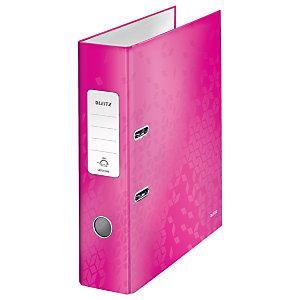 Leitz Wow Archivador de palanca de 180º, A4, Lomo 80 mm, Capacidad 600 hojas, Cartón resistente recubierto de papel impreso plastificado, rosa fucsia