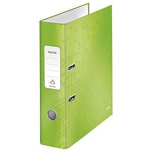 Leitz Wow Archivador de palanca de 180º, A4, Lomo 80 mm, Capacidad 600 hojas, Cartón resistente recubierto de papel impreso plastificado, Verde