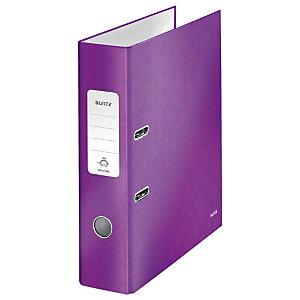 Leitz Wow Archivador de palanca de 180º, A4, Lomo 80 mm, Capacidad 600 hojas, Cartón resistente recubierto de papel impreso plastificado, Violeta