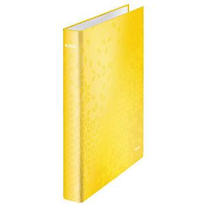 Leitz Wow Carpeta de 2 anillas de 25 mm, A4, cartón forrado, 230 hojas, lomo 40 mm, amarillo