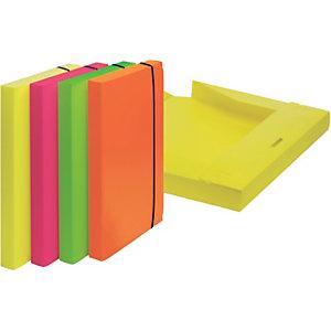 LEONARDI Cartella progetti ''Shocking file'' - Colori assortiti Fluo - Dorso 3 cm - F.to utile 23,5 x 34,5 cm.