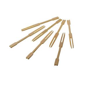 LEONE Forchettine monouso Lux in legno di bamboo, 9 cm (confezione 100 pezzi)