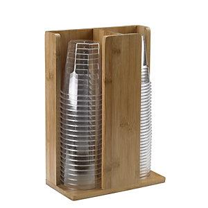 LEONE Portabicchieri a 2 scomparti in legno di bamboo, 21 x 11 x 30 cm,  Naturale