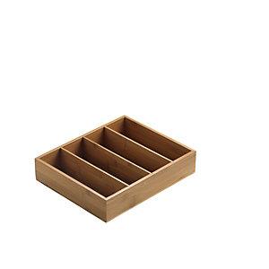 LEONE Portabustine/portaposate in legno di bamboo, 29 x 27,5 x 6 cm, Naturale