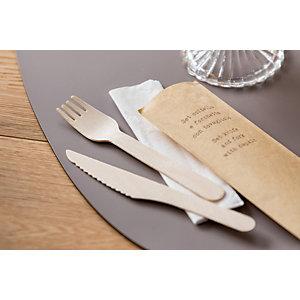 LEONE Set coltello e forchetta con tovagliolo bio in legno di betulla, 16 cm (confezione 48 pezzi)