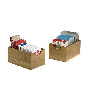 LEONE Vaschetta portabustine in legno di bamboo, 7 x 11 x 5,5 cm, Naturale (confezione 6 pezzi)