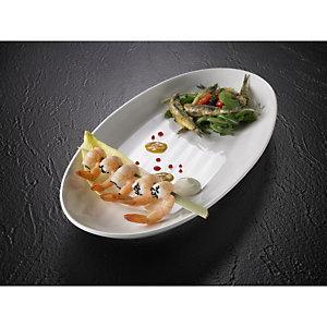 LEONE Vassoio ovale in melamina, 49,5 x 23 x 5 cm, Bianco