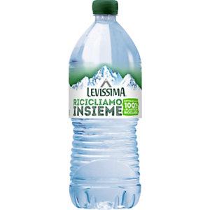 LEVISSIMA Riciclami 100% Acqua minerale, Naturale, Bottiglia 100% di R-PET, 100 cl (confezione 6 bottiglie)