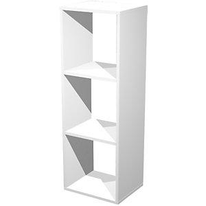 Libreria componibile a 3 caselle Multicolor, 35,9 x 29,2 x 103,9 cm, Bianco