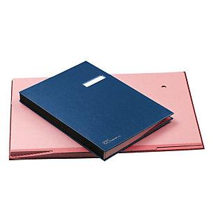 Libro firma, 18 scomparti, Con portaetichetta, Blu
