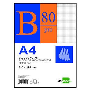 liderpapel Bloc con tapa, A4, cuadriculado, 80 hojas, cubierta cartulina