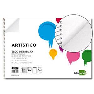 liderpapel Bloc de dibujo liso 20 hojas 130 g/m² Folio apaisado