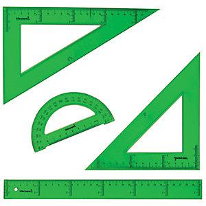 liderpapel Conjunto de geometría de 4 piezas con escuadra de 25 cm, cartabón de 25 cm, regla de 30 cm y semicírculo de 15 cm, verde translúcido