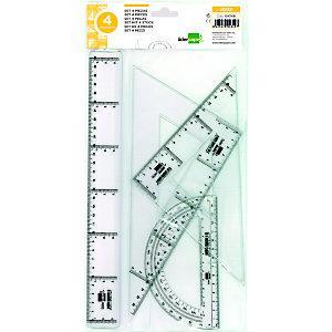 liderpapel Conjunto de geometría de 4 piezas con escuadra y cartabón de 25 cm, regla de 30 cm y semicírculo de 15 cm, transparente
