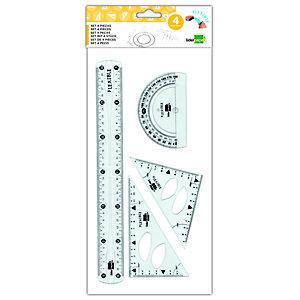 liderpapel Conjunto de geometría flexible de 4 piezas con escuadra de 15 cm, cartabón de 14 cm, regla de 30 cm y semicírculo de 11 cm, transparente