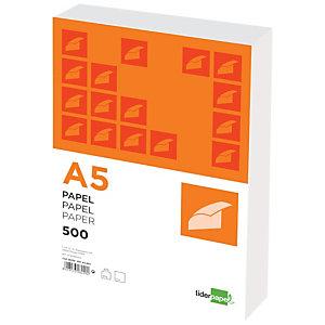 liderpapel Papel Multifunción para Faxes, Fotocopiadoras, Impresoras Láser e Impresoras de Inyección de Tinta Blanco A5 80 g/m²