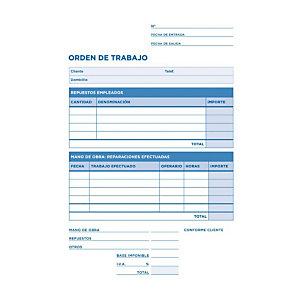 liderpapel Talonario preimpreso en castellano para orden de trabajo 4º natural 144 x 210 mm con copia 50 hojas x 2