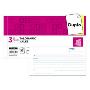 liderpapel Talonario preimpreso en castellano de vale de caja 205 x 102 mm con copia 50 hojas x 2