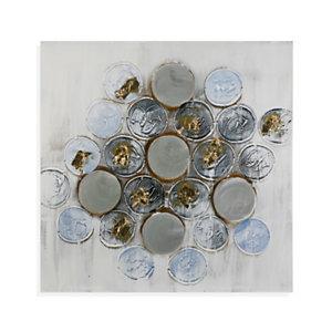 Lienzo botones, tonos grises degradados y azules, 60 x 60 cm