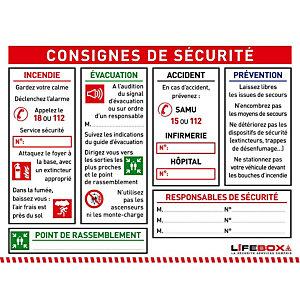 LIFEBOX LA SECURITE SERVICE COMPRIS Panneau consignes de sécurité