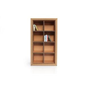Linea in cartone EcoDesign Libreria modulare Tulipano, 8 vani, 88 x 33 x 163 h, in cartone, Avana
