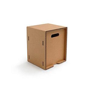 Linea in cartone EcoDesign Sgabello cubo Cedro in cartone, cm 33 x 33 x 45 h, Avana